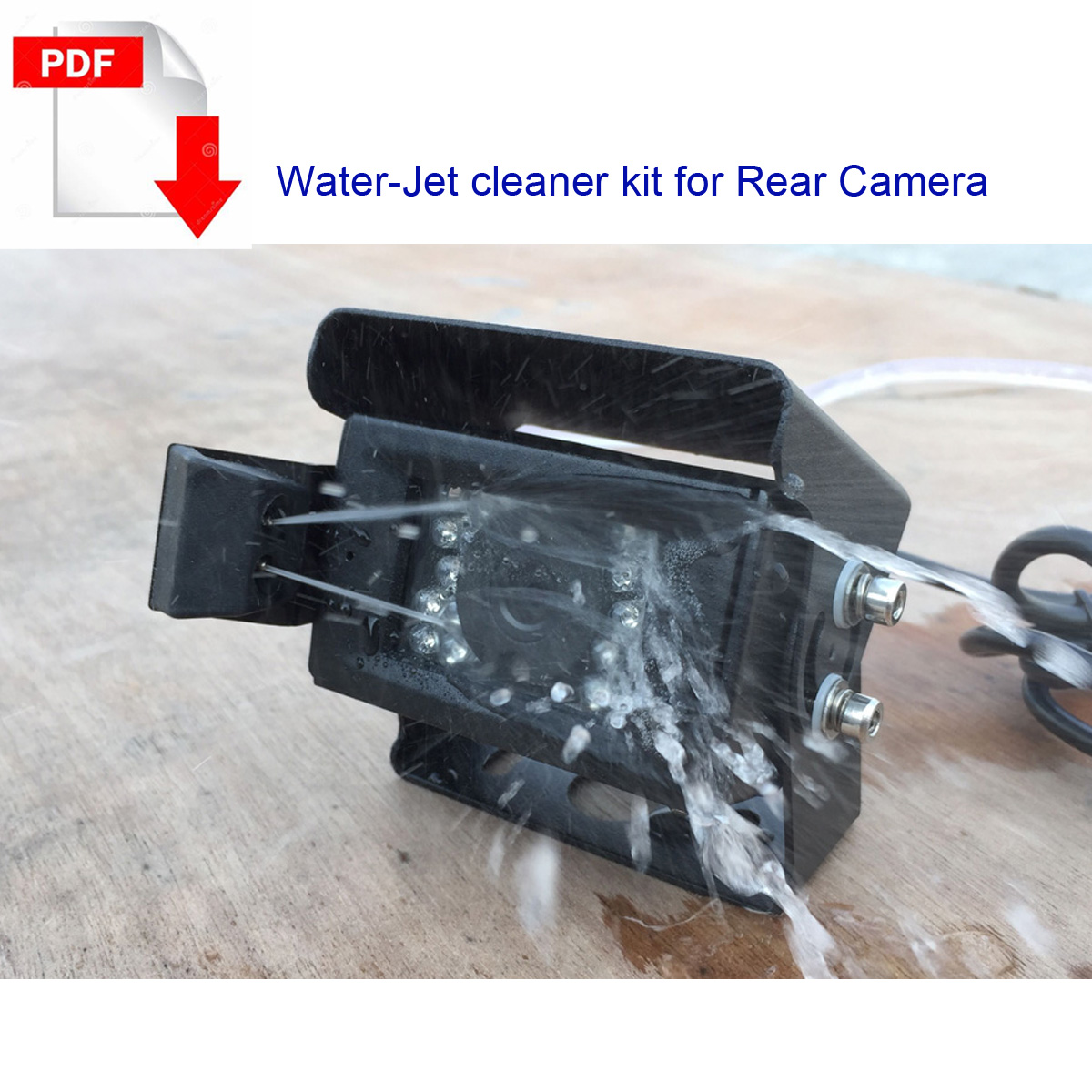 Rear view-camera-with water-jet cleaner system